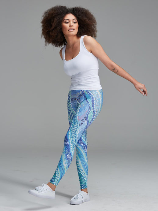 DABIL WATER COUNTRY  leggings - Authentic Australian Aboriginal Art