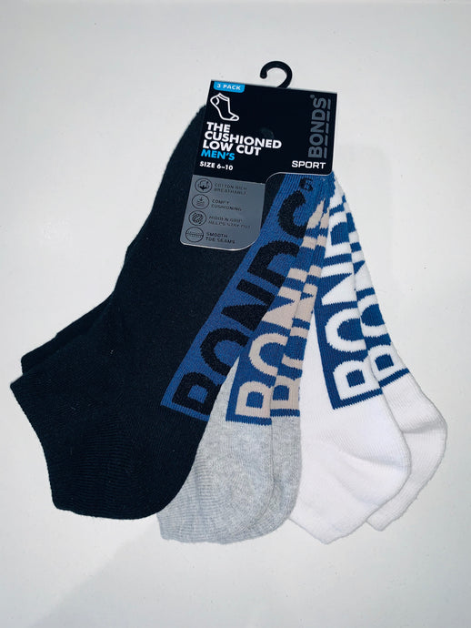 Bonds Men's 3 Pack Socks - The CUSHIONED LOW CUT.
