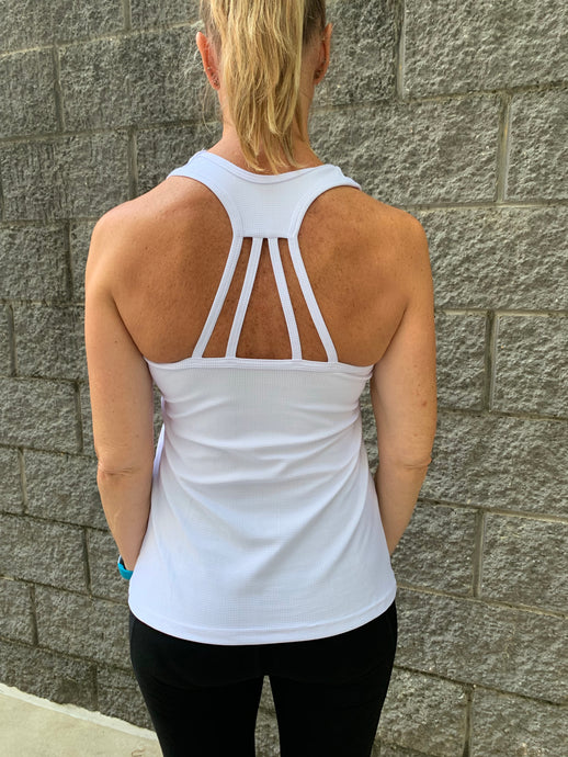 Gmaxx BREEZE White Strappy Back Sports Top