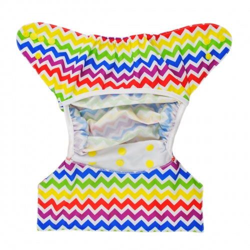 Alva Baby One Size Nappy Cover- Rainbow Chevron