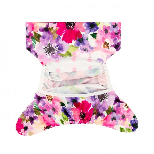 Alva Baby One Size Nappy Cover- Watercolour Flowers