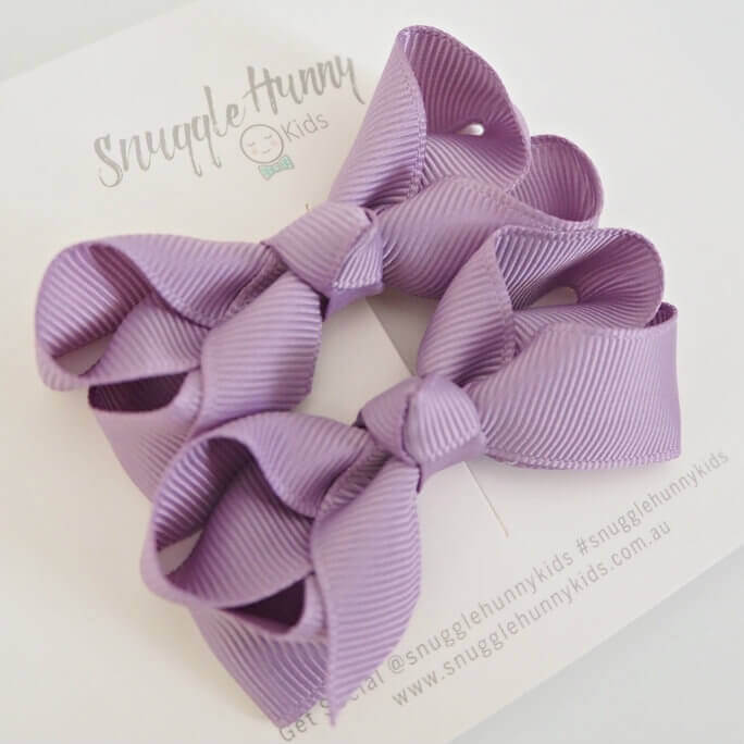 Lilac Clip Bows - Small Piggy Tail Pair by Snuggle Hunny Kids
