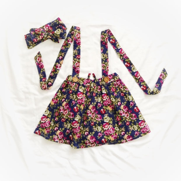 Suspender Skirt - Navy Floral
