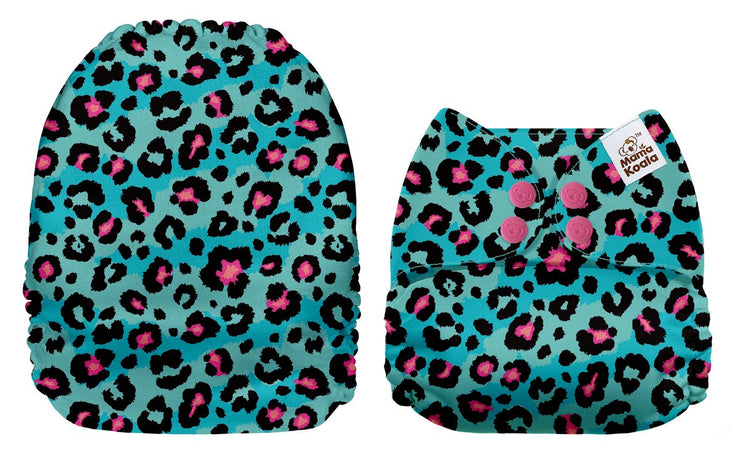 NEW Mama Koala Pocket Nappy -  Blue Green Leopard
