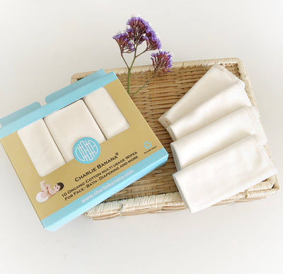Charlie Banana Organic Reusable Cotton Wipes - 10 pack