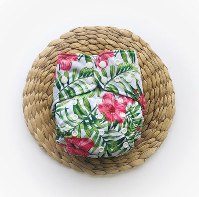 Bare and Boho One Size Nappy - Hibiscus
