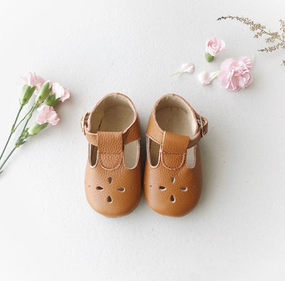 Flower T-bars - Tan (Soft Sole)