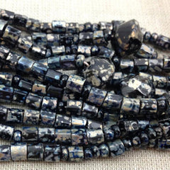 3 Strands Mixed Silver Black Picasso Czech Glass Beads
