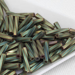 10g Matte Green Iris Miyuki Japan Twisted Bugle Glass Beads