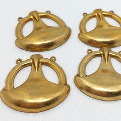 4 Vintage Art Deco Brass Metal Pendants Two Loop