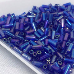 10g Iris Blue Czech Bugle Glass Beads