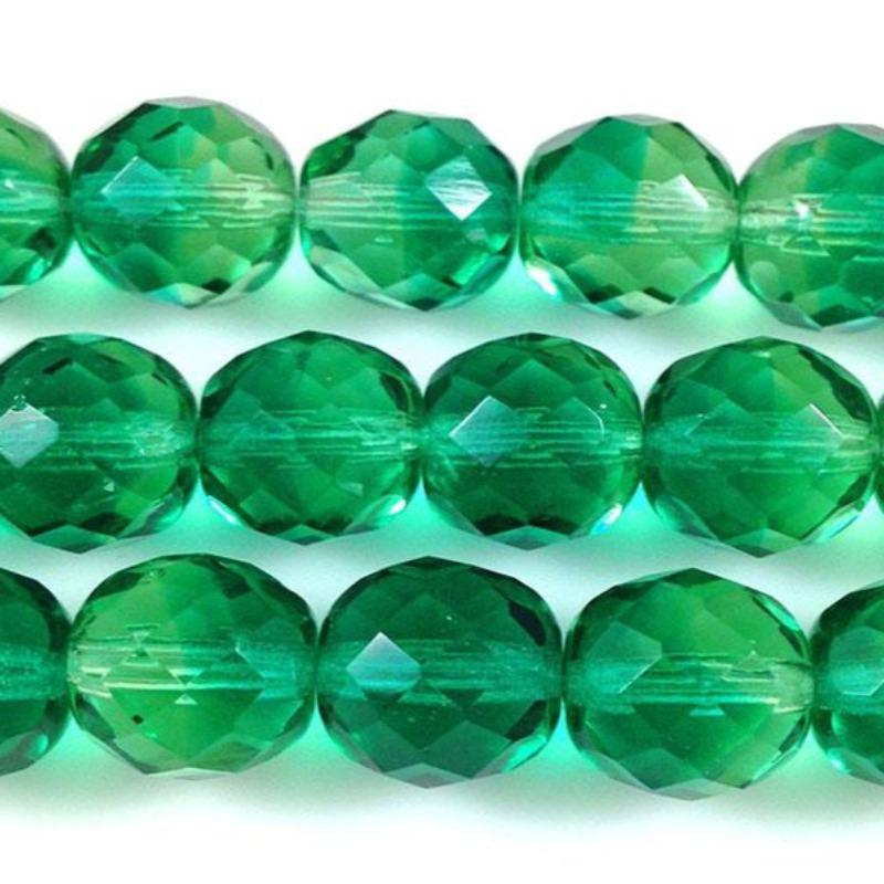 15 Emerald Green Czech Faceted Glass Beads