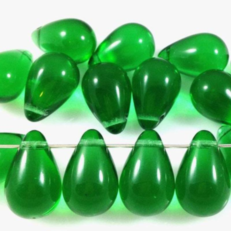 10 Green Czech Briolette Glass Beads