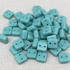 50 Teal Two Hole Chexx Czech Square Glass Beads