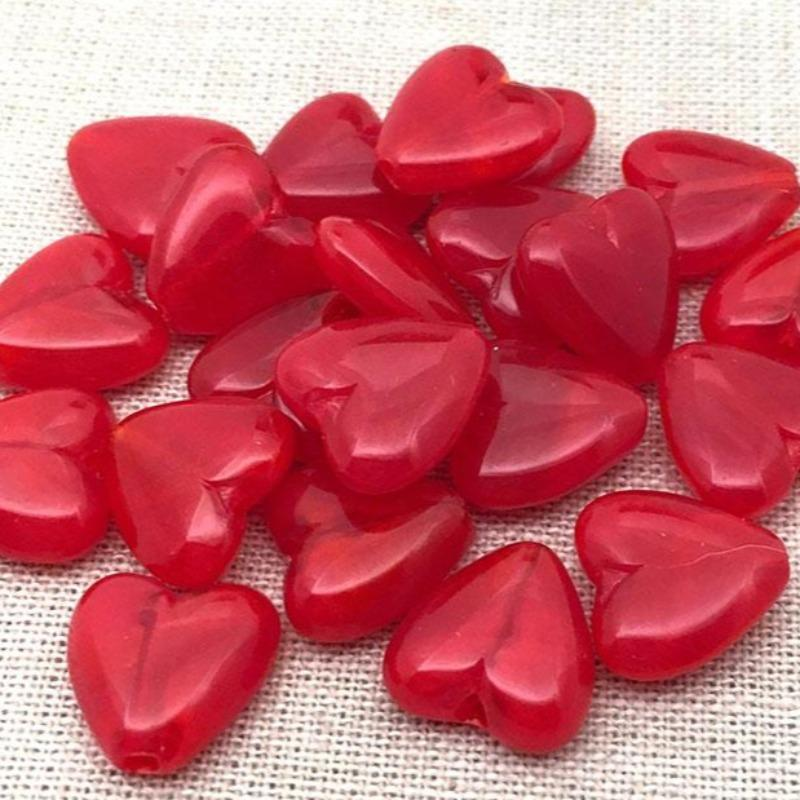 10 Vintage Red Japan Heart Glass Beads