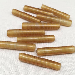 10 Vintage Gold Austrian Tube Glass Beads