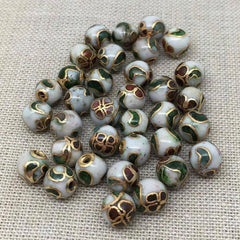 20 Vintage Half Drilled White Cloisonné Pieces