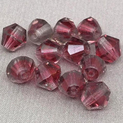 12 Vintage Gray Red Givre German Bicone Glass Beads
