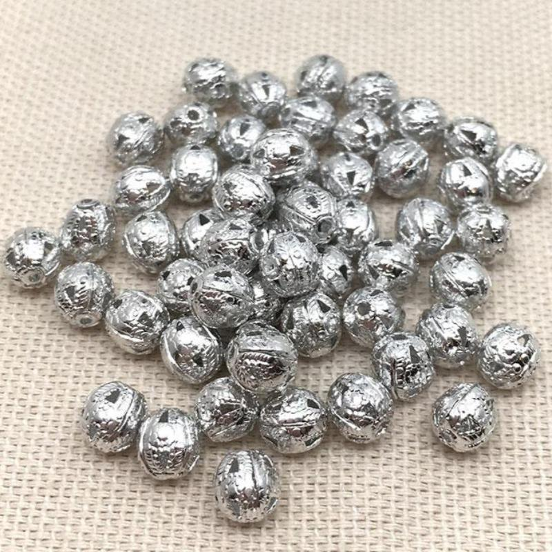 100 Silver Toned Metal Filigree Round Beads