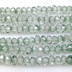 50 Clear Green Czech Rondelle Glass Beads