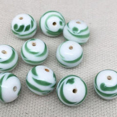 10 Vintage White Green Japan Round Glass Beads