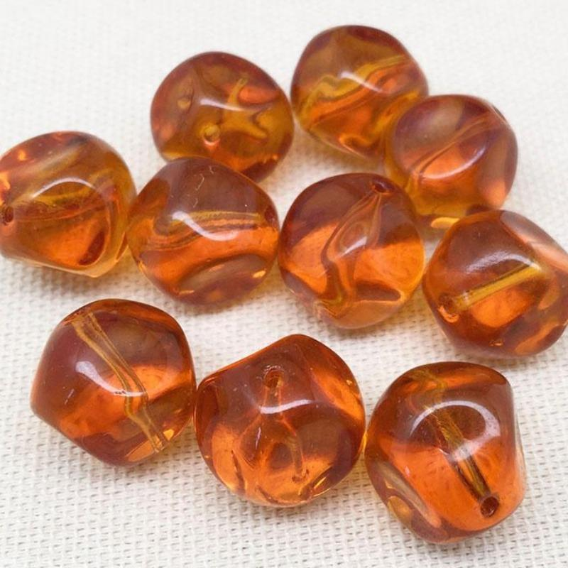 6 Vintage Topaz Czech Baroque Round Glass Beads