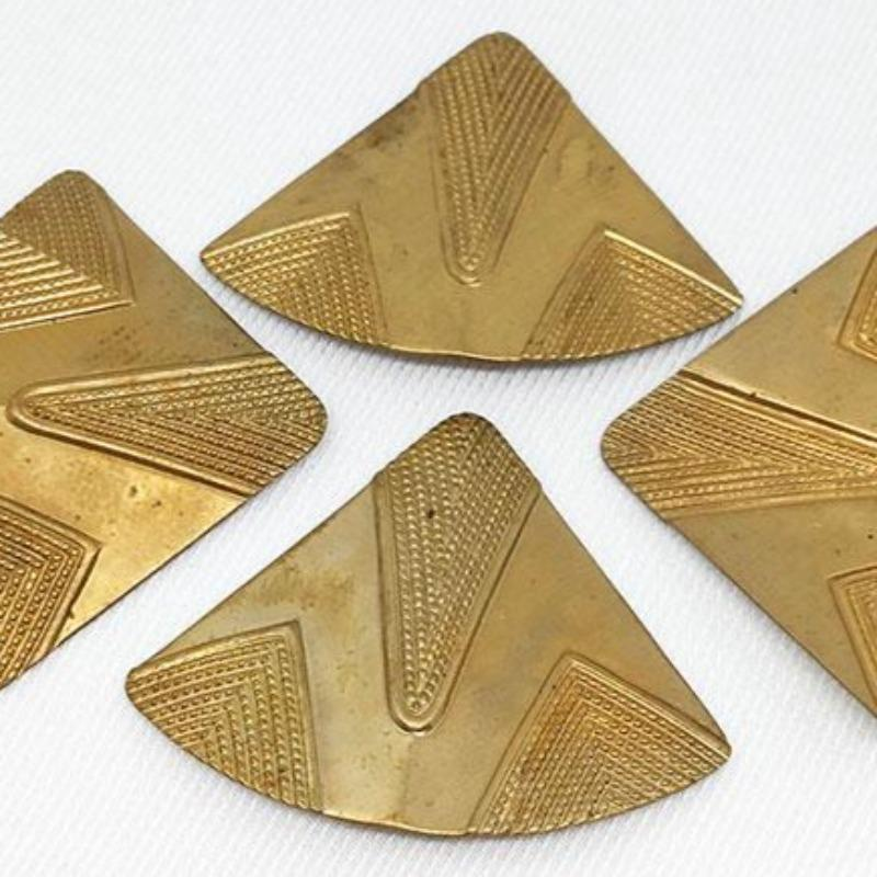 4 Vintage Triangle Brass Metal Stampings