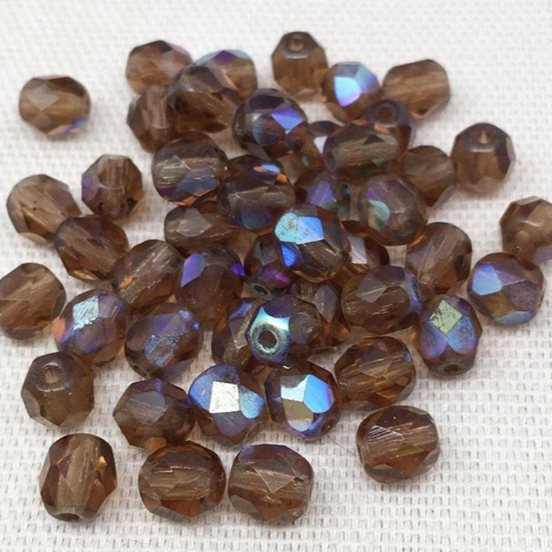 50 AB Translucent Brown Czech Faceted Glass Beads