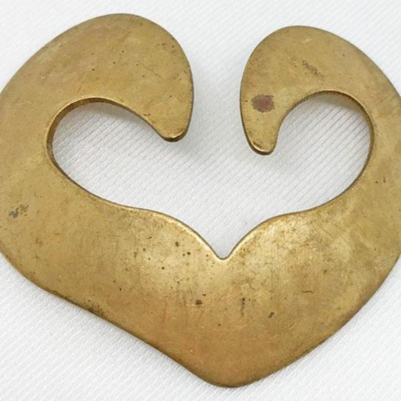 1 Vintage Large Brass Heart Metal Stamping