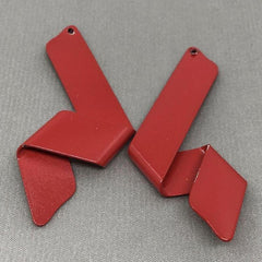 2 Vintage Red Powder Coated Metal Pendants