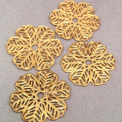 10 Vintage Solid Gold Filigree Metal Findings