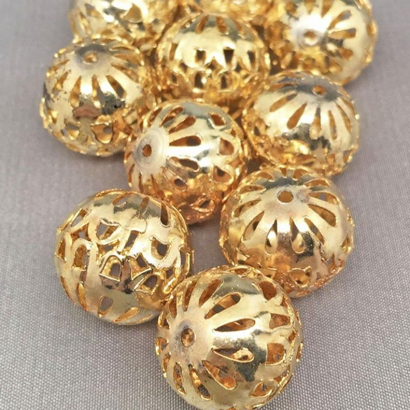 10 Vintage Gold Plated Filigree Beads