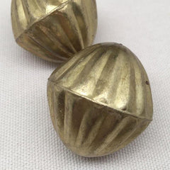 1 Vintage Large Brass Hollow Metal Bead