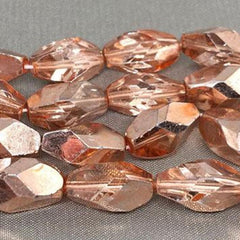 25 Metallic Copper Czech Faceted Oval Glass Beads
