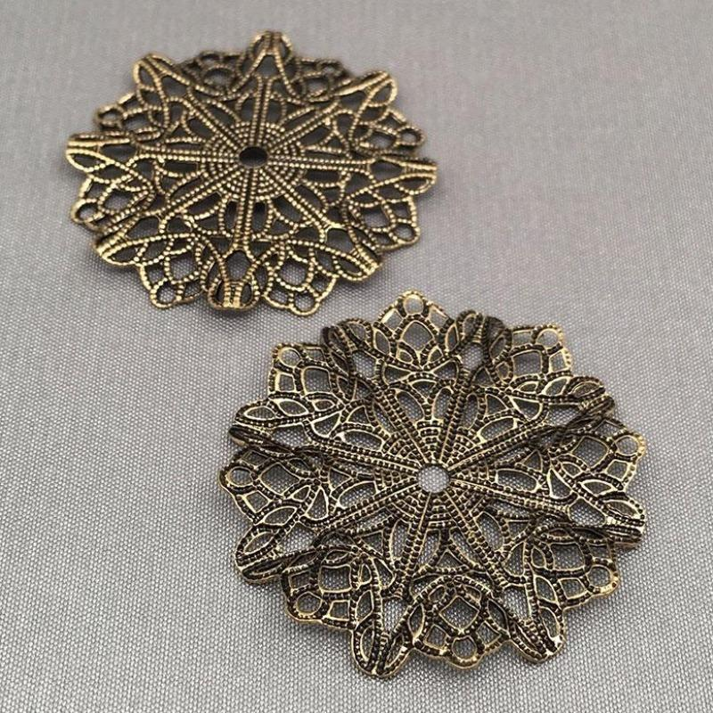 4 Vintage Antiqued Brass Filigree Metal Findings