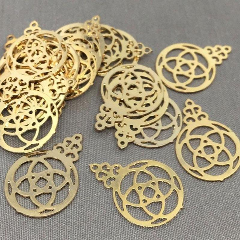 20 Vintage Brass Dainty Pendant Drop Charms