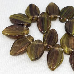 25 Pink Yellow Brown Striped Czech Leaf Glass Beads