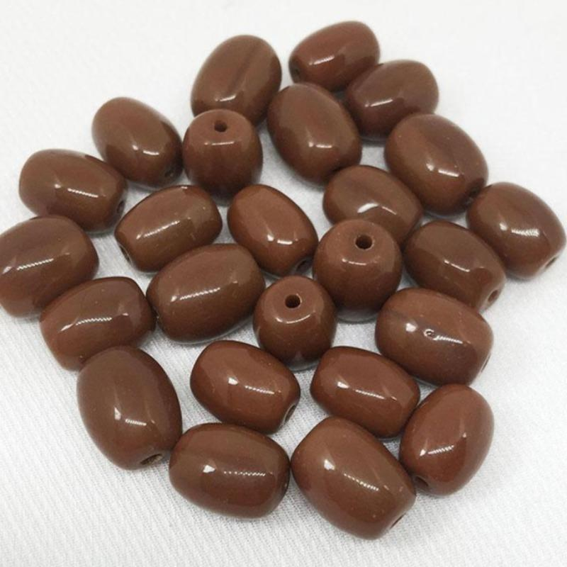 25 Vintage Rustic Golden Brown Czech Oval Glass Beads