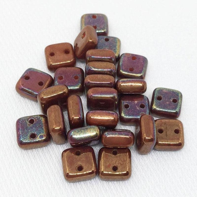 25 Iris Copper Two Hole Czech Chexx Square Glass Beads