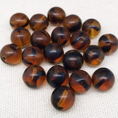 10 Vintage Striped Topaz Czech Round Glass Beads