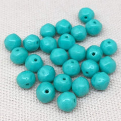 25 Vintage Aqua Teal Czech Baroque Round Glass Beads