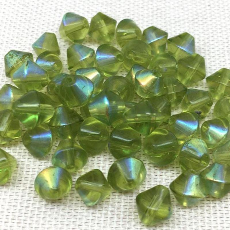 50 Vintage AB Apple Green Bicone Glass Beads