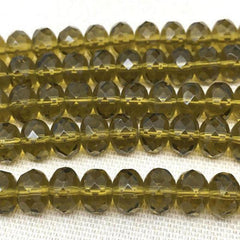 25 Golden Olive Green Czech Faceted Rondelle Glass Beads