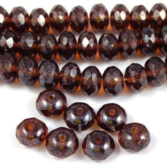 20 Dark Chocolate Brown Picasso Czech Rondelle Glass Beads