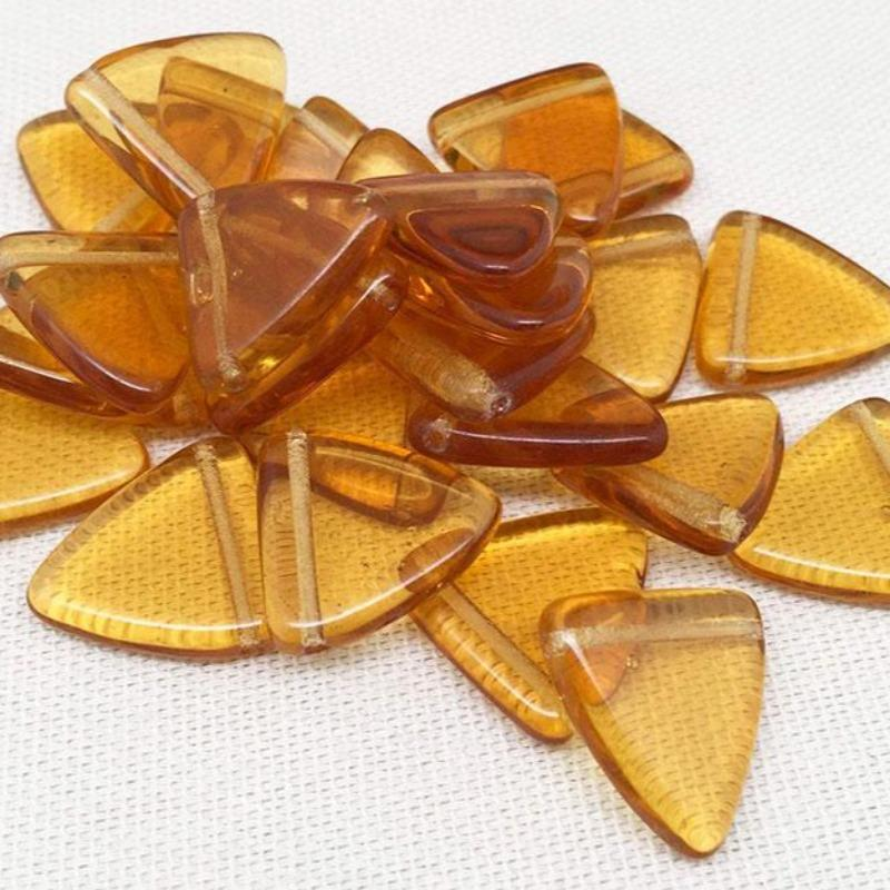 12 Golden Topaz Czech Triangle Glass Beads