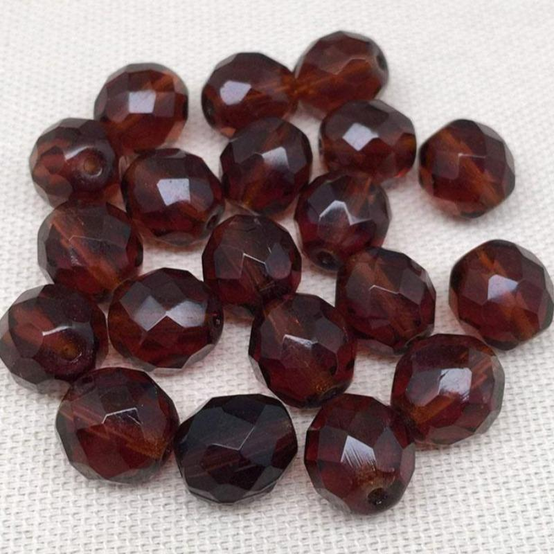 20 Translucent Dark Amber Czech Faceted Glass Beads