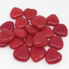 25 Red Czech Heart Glass Beads