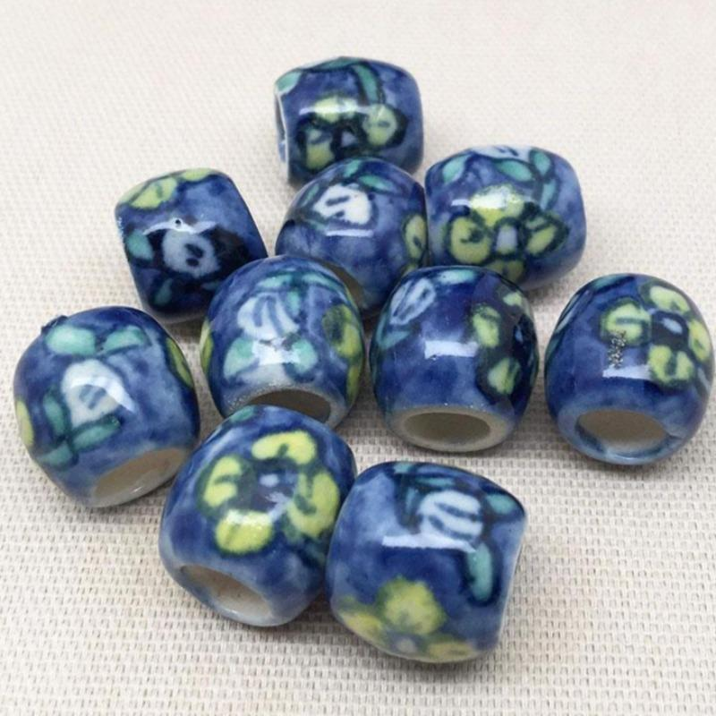 10 Vintage Floral Blue Porcelain Oval Beads