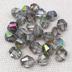 25 Vintage AB Translucent Silver Czech Bicone Glass Beads