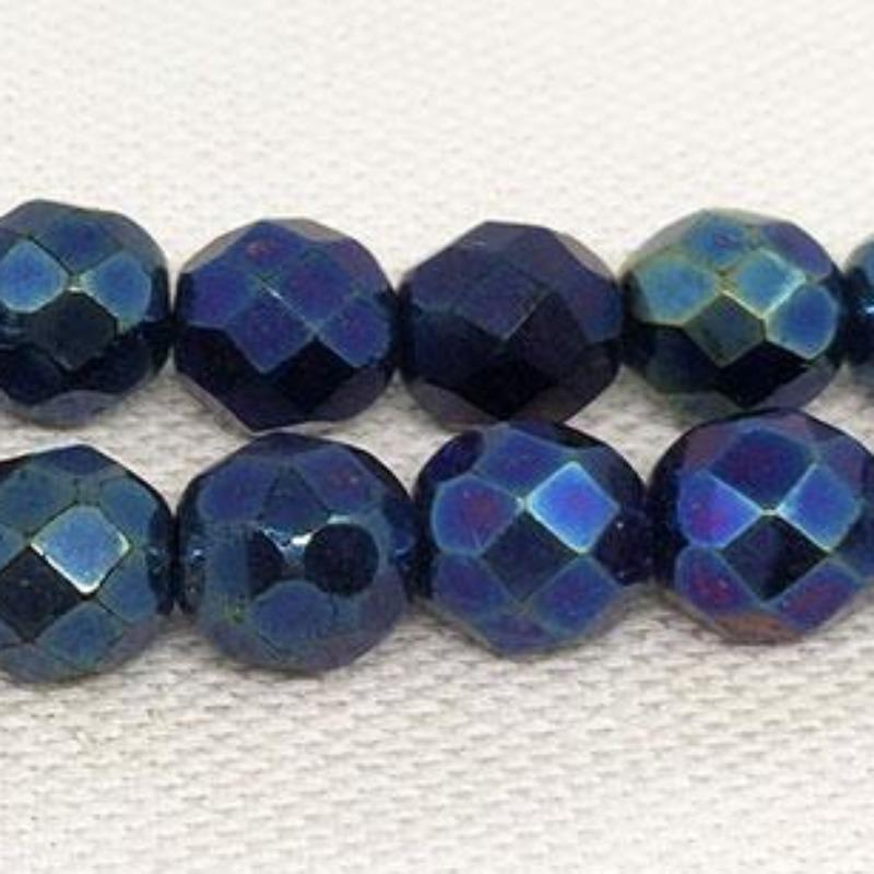 25 Iris Blue Metallic Czech Faceted Glass Beads